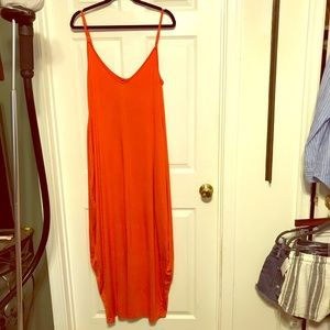 Zanzea orange long jersey dress